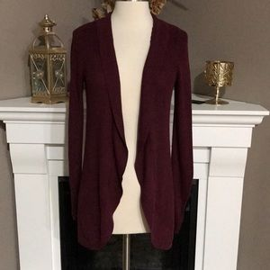 A New Day Burgundy Ribbed Open Sweater Cardigan